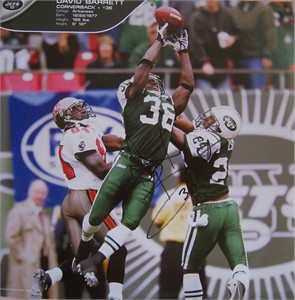 David Barrett autographed New York Jets calendar page photo