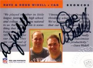 Dave & Doug Widell certified autograph Denver Broncos Pro Line card