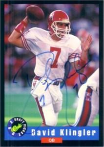 David Klingler certified autograph Houston 1992 Classic card
