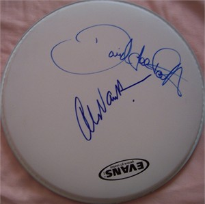 David Lee Roth & Alex Van Halen autographed drumhead