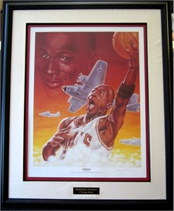 Dan Gardiner (artist) autographed Michael Jordan Airborne lithograph matted & framed #14/100