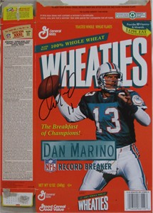 Dan Marino autographed Miami Dolphins 1995 Record Breaker Wheaties box