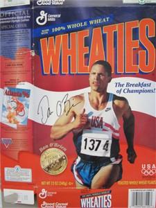 Dan O'Brien autographed 1996 Olympic decathlon commemorative Wheaties box