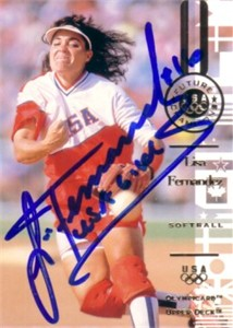 Lisa Fernandez autographed 1996 Upper Deck U.S. Olympic softball card inscribed USA Gold