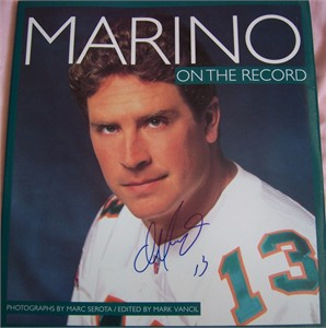 Dan Marino autographed Miami Dolphins On the Record coffee table photo book