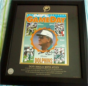 Don Shula & Dan Marino autographed Miami Dolphins NFL Record Win #325 1993 program cover matted & framed