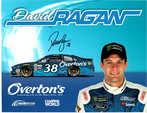David Ragan autographed 8 1/2 by 11 Roush Racing NASCAR photo card