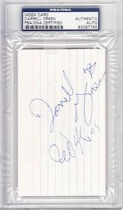 Darrell Green autographed index card inscribed Redskins (PSA/DNA)