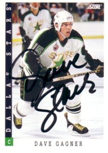 Dave Gagner autographed Dallas Stars 1993-94 Score card