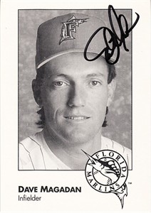 Dave Magadan autographed 1993 Florida Marlins photo card