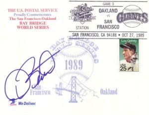 Dave Stewart autographed Oakland A's 1989 World Series postcard