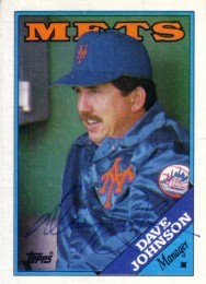 Davey Johnson autographed New York Mets 1988 Topps card