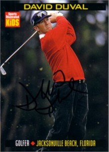 David Duval autographed 1999 Sports Illustrated for Kids Rookie Card