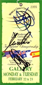 David Duval Ernie Els Nick Price autographed 1999 World Golf Championships Match Play ticket