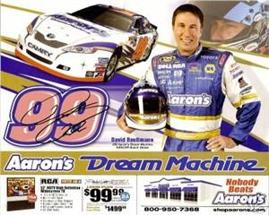 David Reutimann autographed NASCAR 8x10 photo card