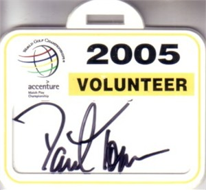 David Toms autographed 2005 WGC Match Play volunteer badge