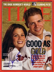 David Pelletier & Jamie Sale autographed 2002 Olympics Time magazine