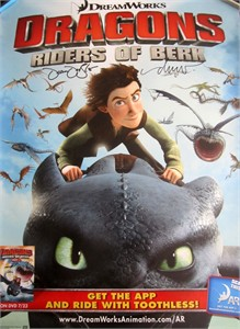 Dean DeBlois & Drew Struzan autographed Dragons Riders of Berk 2013 Comic-Con 18x24 inch poster