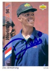 Desmond Armstrong autographed U.S. Soccer 1994 Upper Deck card