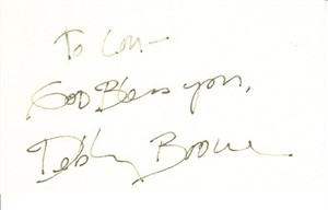 Debby Boone autographed 3x5 index card (personalized) JSA
