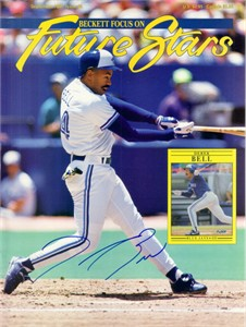 Derek Bell autographed Toronto Blue Jays Beckett magazine cover