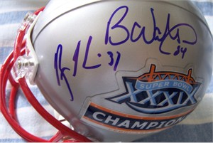 Deion Branch Rodney Harrison Ben Watson autographed New England Patriots Super Bowl 39 Champions mini helmet