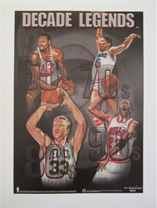 Larry Bird Wilt Chamberlain Julius Erving Michael Jordan Decade Legends lithograph (not autographed)
