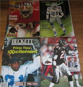 Lot of 4 Deion Sanders Beckett Football Monthly magazines