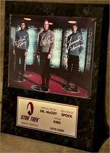 DeForest Kelley Leonard Nimoy William Shatner autographed 8x10 Star Trek photo in plaque ltd. edit. 2500
