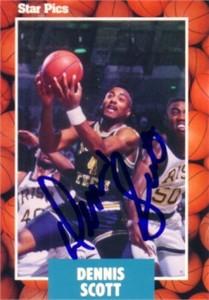 Dennis Scott autographed Georgia Tech 1990 Star Pics card