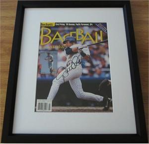 Derek Jeter autographed New York Yankees 1999 baseball magazine cover matted & framed