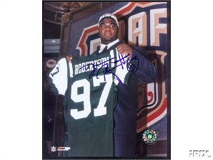 DeWayne Robertson autographed New York Jets NFL Draft 8x10 photo