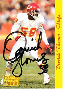 Derrick Thomas certified autograph Kansas City Chiefs 1993 Pro Line card