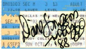 Diane Simpson autographed 1993 gymnastics ticket stub