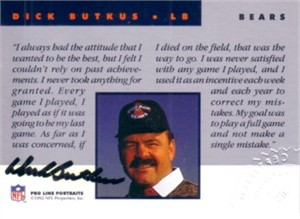 Dick Butkus certified autograph Chicago Bears 1992 Pro Line card