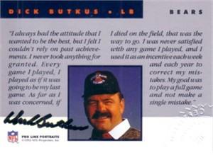 Dick Butkus certified autograph Chicago Bears 1992 Pro Line card