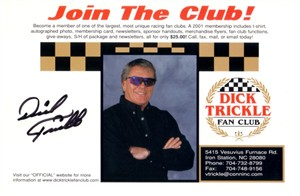 Dick Trickle autographed 6x9 NASCAR photo card