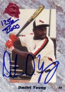 Dmitri Young certified autograph 1991 Classic card