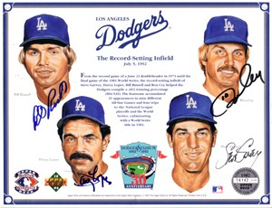 Ron Cey Steve Garvey Davey Lopes Bill Russell autographed Los Angeles Dodgers 1992 Upper Deck card sheet