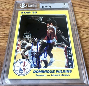 Dominique Wilkins autographed Atlanta Hawks 1985 Star Court Kings 5x7 jumbo card