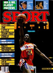 Dominique Wilkins autographed Atlanta Hawks 1987 Sport magazine