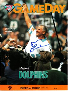 Don Shula autographed 1994 Miami Dolphins program with NFL coaching wins record cover