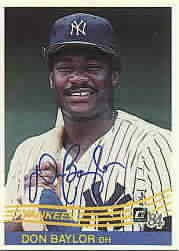 Don Baylor autographed New York Yankees 1984 Donruss card