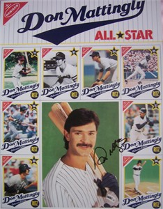 Don Mattingly autographed New York Yankees 1989 commemorative 11x14 card sheet