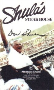 Don Shula Miami Dolphins Tampa Steakhouse promotional business card