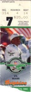Don Shula NFL Record Win #325 1993 Miami Dolphins ticket stub
