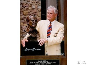 Don Shula autographed 1997 Pro Football Hall of Fame 8x10 photo in plaque