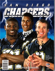 LaDainian Tomlinson Drew Brees Donnie Edwards autographed San Diego Chargers 2003 Yearbook