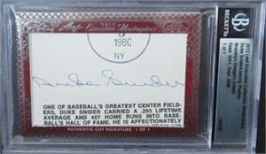 Duke Snider & Johnny Podres certified autograph 2012 Leaf Executive Masterpiece Dual Cut Signature card #1/1