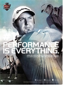 Dustin Johnson autographed Taylor Made golf magazine ad